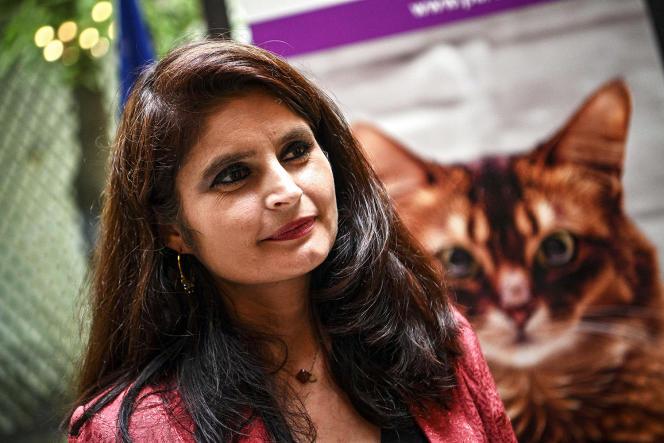 Hélène Thouy, coprésidente du Parti animaliste et candidate à l'élection présidentielle de 2022, à Paris, le 1erjuillet.