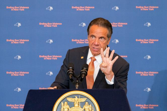 Le gouverneur de New York, Andrew Cuomo, lors d'une conférence de presse à New York, le mardi 6 juillet 2021.