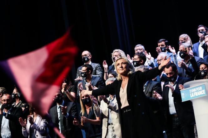 Marine Le Pen au congrès du Rassemblement national à Perpignan, le 4 juillet 2021.