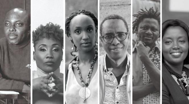 Les dramaturges Kouam Tawa, Gaëlle Bien-Aimé, Carole Karemera, Souleymane Bah, Michael Disanka etAssiimwe Deborah Kawe, mis à l'honneur dans le rendez-vous«Ça va, ça va le monde !» de RFI au Festival d'Avignon 2021.