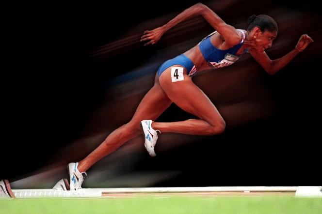 Marie-José Pérec aux Jeux olympiques d'Atlanta, en 1996.