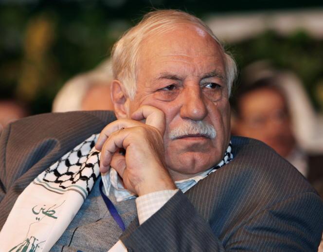 Ahmed Jibril, chef du Front populaire de libération de la Palestine-Commandement Général (PFLP-GC), à Damas, en Syrie, le 23 janvier 2008.