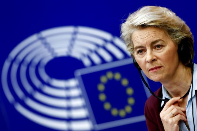 Die Präsidentin der Europäischen Kommission, Ursula von der Leyen, am Mittwoch, 7. Juli, im Europäischen Parlament in Straßburg.