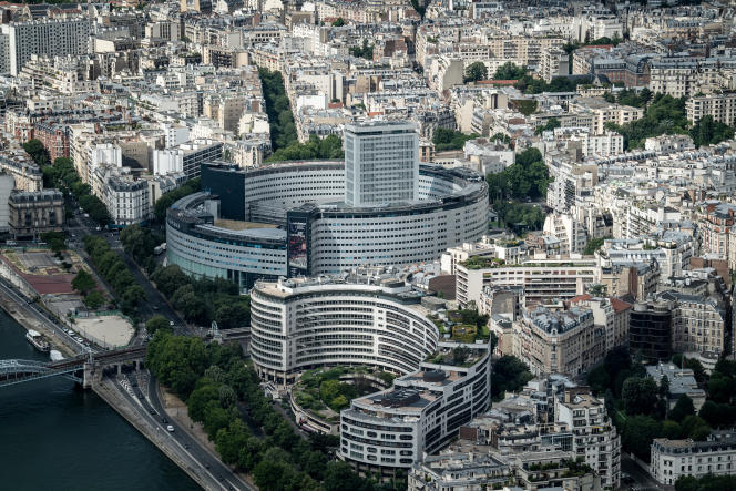 Vue aérienne de la Maison de la radio, à Paris, où se situent les locaux de France Inter, le 15 juin 2020.