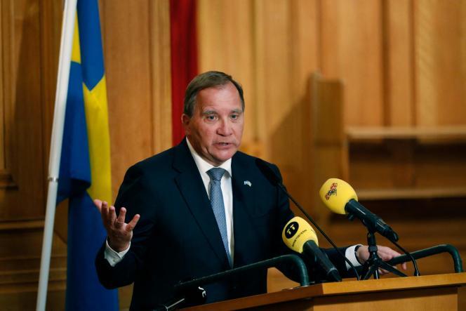 Le premier ministre suédois, Stefan Löfven, le 7 juillet au Parlement, à Stockholm.