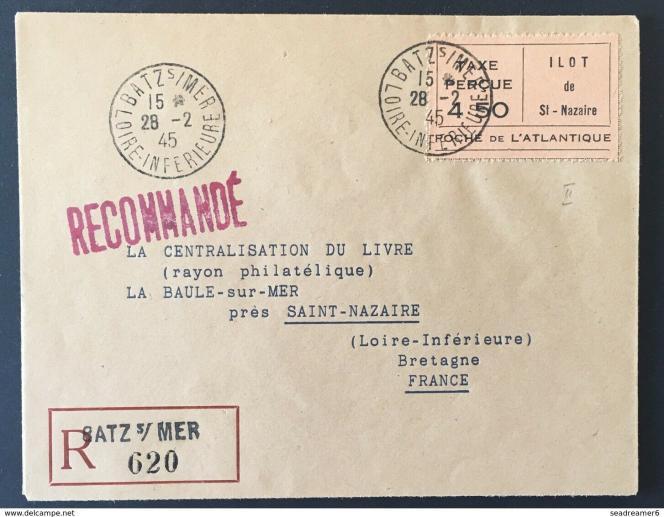 France poche de Saint-Nazaire 1945. Lettre avec vignette taxe perçue 4fr50, en vente sur eBay, 126,72 euros.