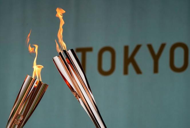La flamme olympique arrivée à Tokyo, le 9 juillet 2021.