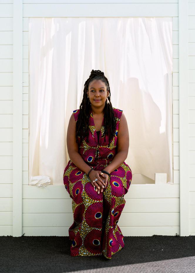 L'aide-soignante et actrice Aïssatou Diallo Sagna, sur la terrasse Albane de l'hôtel JW Marriott à Cannes,le 9 juillet 2021.