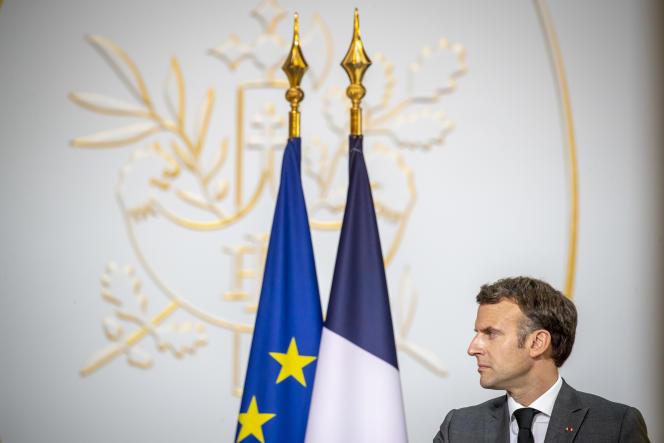 Emmanuel Macron, lors d'une conférence de presse avec son homologue nigérien Mohamed Bazoum, à l'Elysée, le 9 juillet 2021.