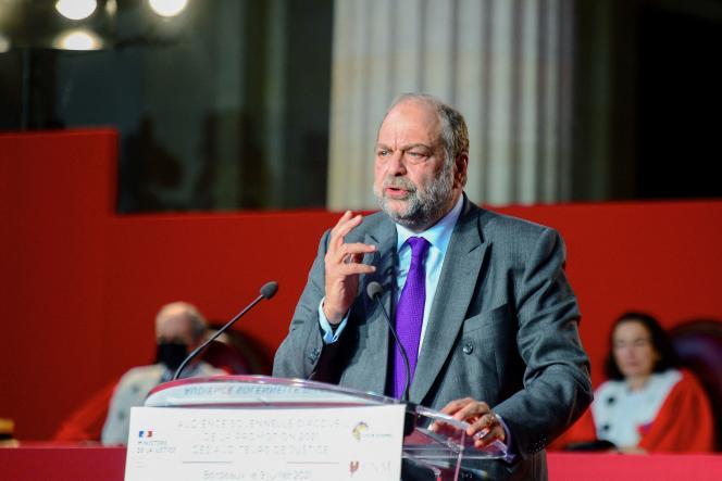 Le ministre de la justice, Eric Dupond-Moretti, au palais de justice de Bordeaux lors de la cérémonie de prestation de serment des lauréats de l'Ecole nationale de la magistrature, le 9 juillet 2021.