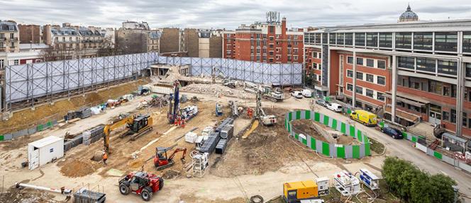 Le chantier de reconstruction de l'Ecole supérieure de physique et de chimie industrielle, à Paris, en janvier 2020.