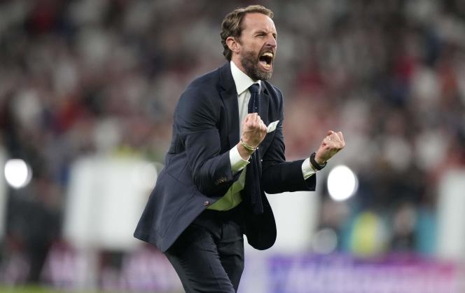 Gareth Southgate lors de la rencontre entre l'Angleterre et le Danemark, à Londres, le 7juillet 2021.
