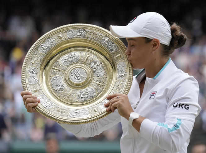 Ashley Party of Australia after the victory at Wimbledon on July 10, 2021.