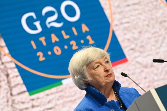 La secrétaire américaine au trésor, Janet Yellen, au sommet du G20, à Venise, dimanche 11 juillet 2021.