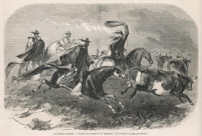 Gauchos argentins. Gravure de « L'Illustration», 1857.