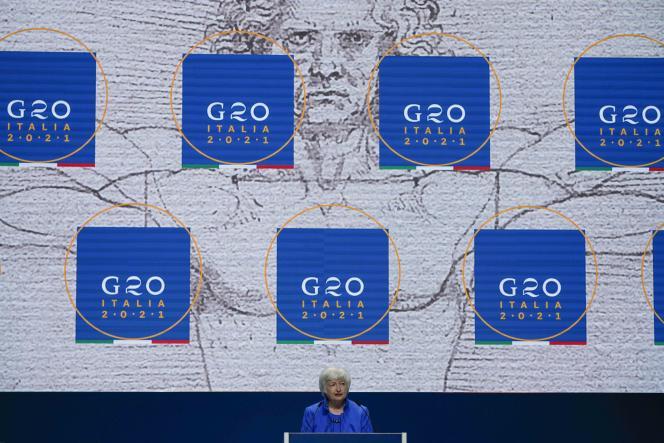 US Treasury Secretary Janet Yellen at the G20 Summit in Venice on July 11, 2021.