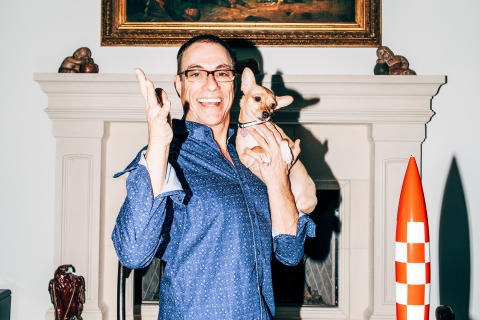 Jean-Claude Van Damme with his pet Chihuahua at his home in Simi Valley, Calif., Nov. 16, 2017. In the new Amazon show 'Jean-Claude Van Johnson,' the seemingly washed-up Muscles from Brussels gleefully sends up his action star image by playing a broken-do