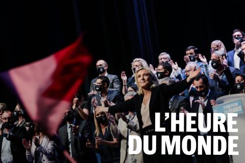 Marine Le Pen termine son discours à l'occasiondu Congrès duRassemblement national, à Perpignan, le 4 juillet 2021