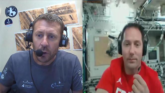 Capture d'écran de l'appel en visioconférence de l'aquanauteLaurent Ballesta (à gauche) et de l'astronaute Thomas Pesquet (à droite).