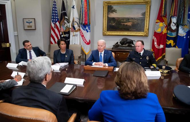 Joe Biden lors d'une réunion pour lutter contre les violences par armes à feu, à Washington, D.C., le 12 juillet 2021.