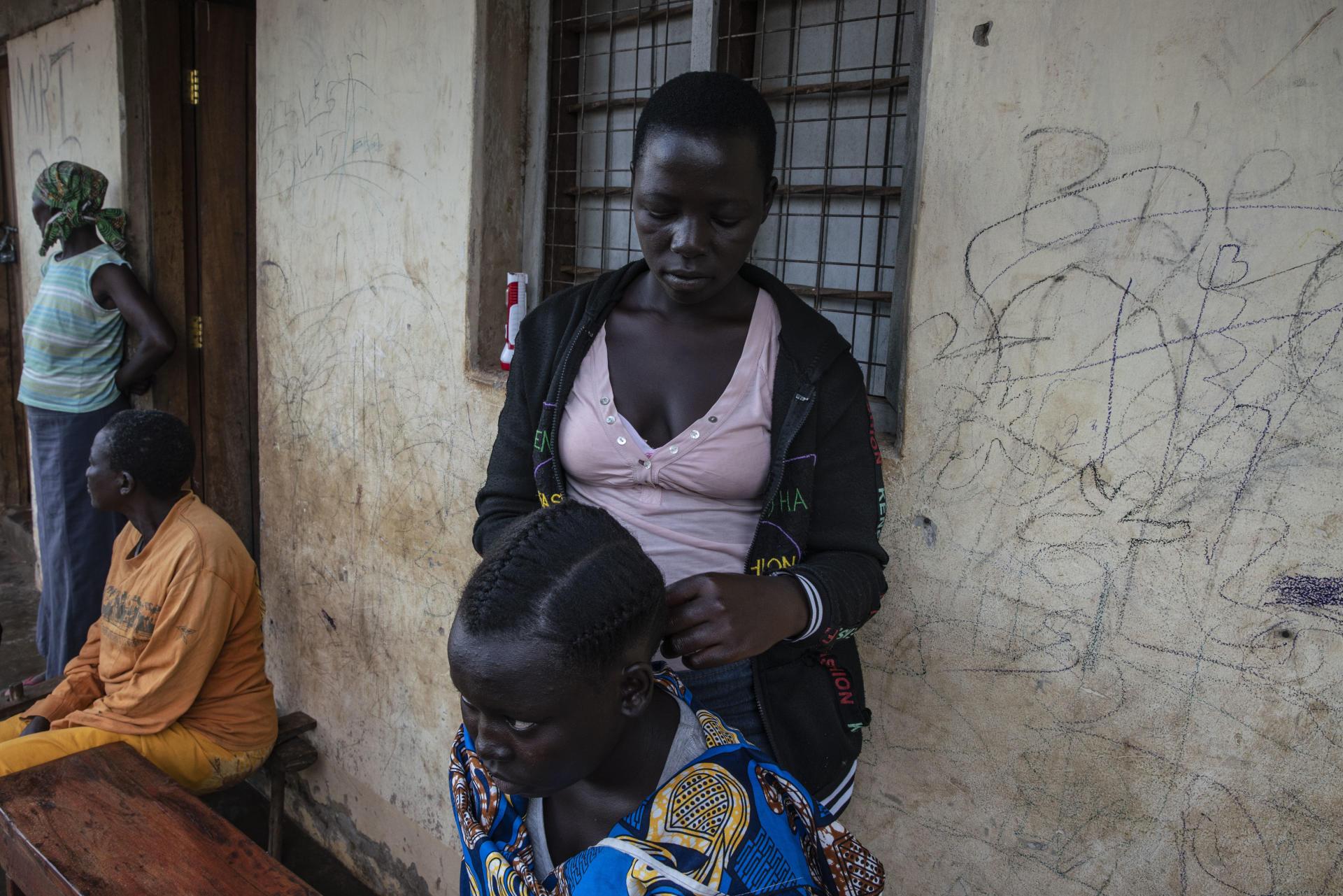 Déplacées de la ville de Lata arrivées au mois de mars. Yei, Soudan du Sud, le 2 juillet 2021.