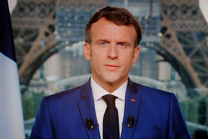 Le président de la République, Emmanuel Macron, lors de son allocution télévisée du12 juillet 2021, à Paris.