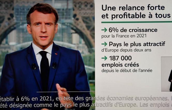 Le président de la République, Emmanuel Macron, lors de son allocution télévisée, lundi 12 juillet 2021.