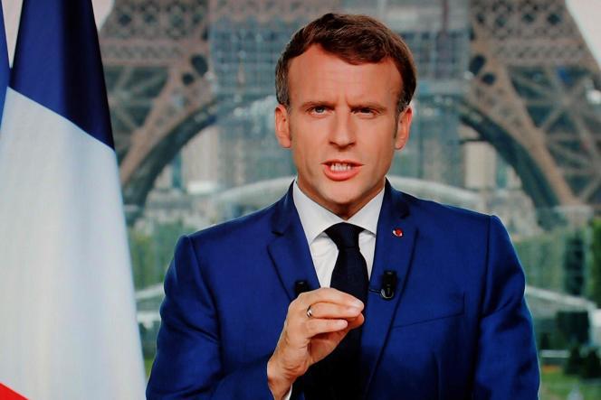 Emmanuel Macron lors de son allocution télévisée depuis le Grand Palais, à Paris, le 12juillet 2021.