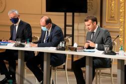 Bruno Le Maire, le ministre de l'économie, Jean Castex, le premier ministre et Emmanuel Macron à l'Elysée, le 12 juillet 2021.
