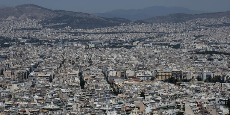 View from Athens city center where the majority of migrants and refugees are located. July 2021