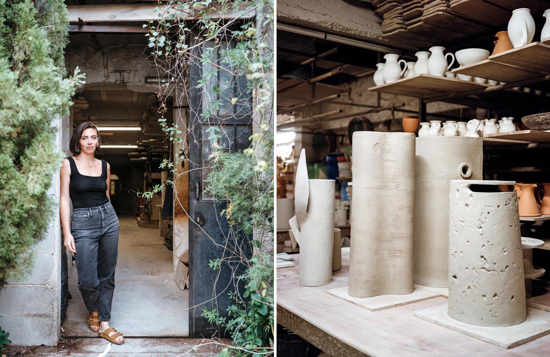 La céramiste Olivia Cognet dans l'atelier de Vallauris où elle a suivi sa résidence d'artiste, le 1erjuin. A droite, des lampes et des vases en faïence en train de sécher.