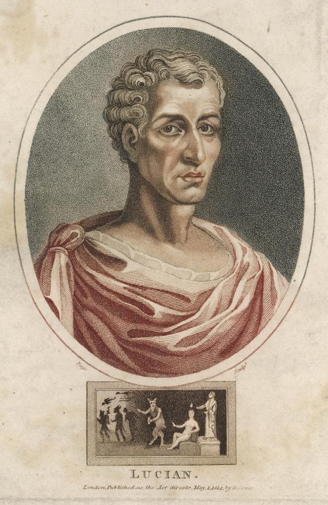 L'écrivain Lucien de Samosate. Gravure colorisée.