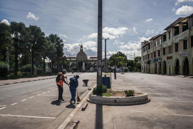 Les rues d'Antananarivo, vides de touristes... et de Malgaches en avril 2021. Les frontières de Madagascar sont fermées depuis le 19 mars 2020 pour lutter contre la porgression du coronavirus.