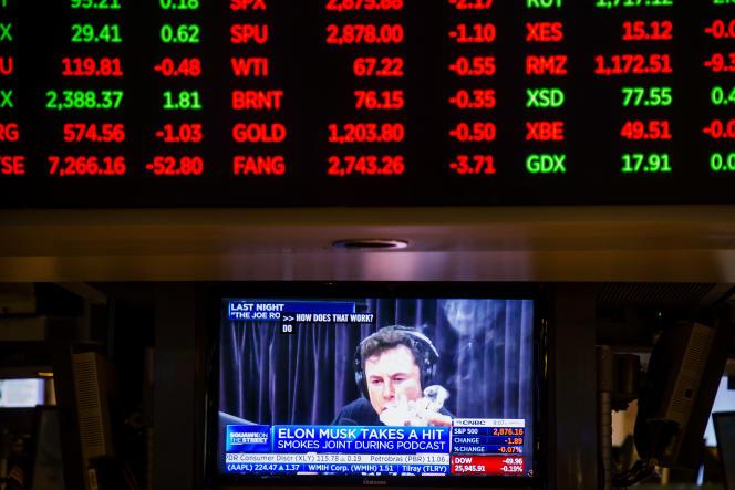 Elon Musk, vu sur un téléviseur à la Bourse de New York, le 7 septembre 2018.
