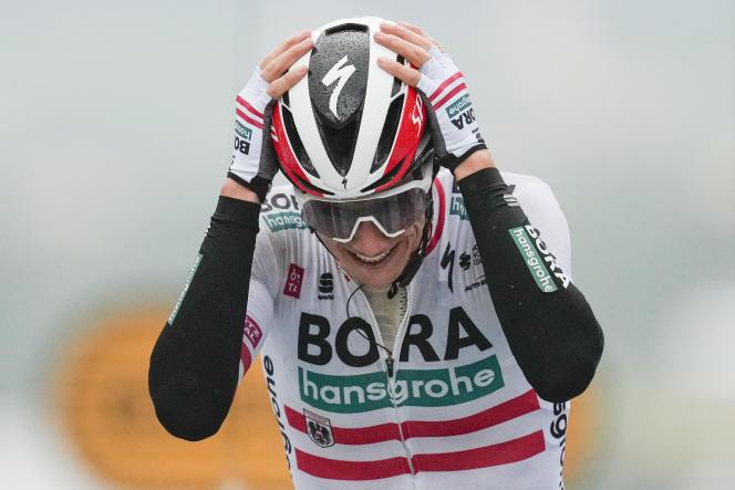 L'Autrichien Patrick Konrad (Bora-Hansgrohe) lors de sa victoire dans la 16e étape du Tour de France entre Pas de la Case et Saint Gaudens, le 13 juillet.