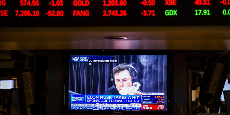 Elon Musk, chief executive officer of Telsa Inc., is seen on a television on the floor of the New York Stock Exchange (NYSE) in New York, U.S., on Friday, Sept. 7, 2018. U.S. technology stocks rebounded from a three-day selloff as Broadcom results topped estimates and the Trump administration so far restrained from escalating the trade war with China. Photographer: Michael Nagle/Bloomberg via Getty Images