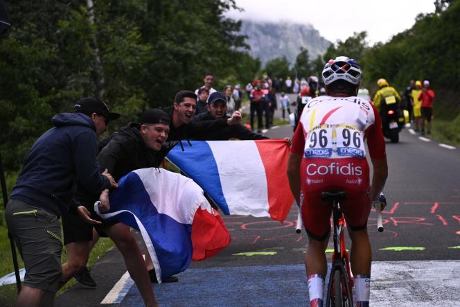 Anthony Perez (Cofidis) lors de la 17e étape du Tour de France, entre Muret et Saint-Lary-Soulan-col du Portet, le 14 juillet.