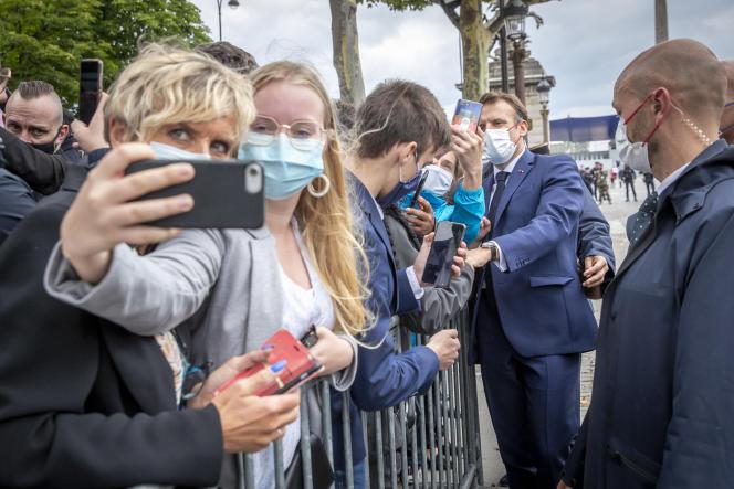 Emmanuel Macron,sur les Champs-Elysées à Paris, le 14 juillet 2021.