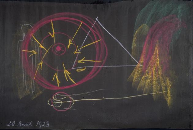 Dessin à la craie réalisé par Rudolf Steiner lors d'une conférence, le 20 avril 1923.