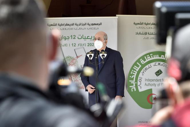 Le président algérien Abdelmadjid Tebboune à Alger, le 12 juin 2021.