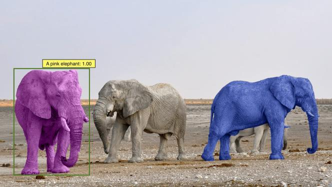 Cet algorithme de Facebook (MDETR) reconnaît l'animal qualifié «d'éléphant rose» alors qu'il n'en a jamais vu lors de son entraînement.
