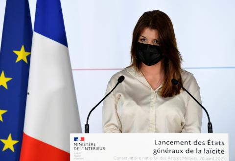 French Junior Minister of Citizenship Marlene Schiappa delivers a speech for the opening of the general assembly of secularism in Paris on April 20, 2021. (Photo by Bertrand GUAY / POOL / AFP)