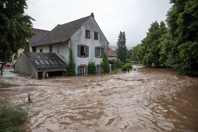 Houses submerged on the river bank in the city of Erdorf, Germany Thursday, July 15, 2021.