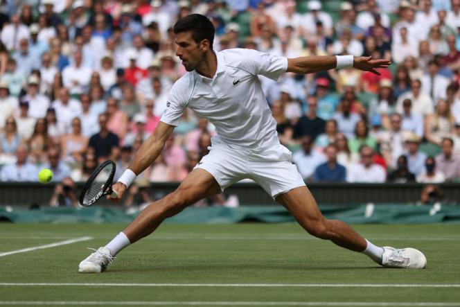 Novak Djokovic, le 11 juillet 2021 à Wimbledon, au Royaume-Uni.