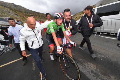 PLATAFORMA DE GREDOS, SPAIN - SEPTEMBER 14: Arrival / Mauro Gianetti of Italy Team Manager UAE Team Emirates / Tadej Pogacar of Slovenia and UAE Team Emirates Green Points Jersey / Celebration / during the 74th Tour of Spain 2019 - Stage 20 a 190.4km stage from Arenas de San Pedro to Plataforma de Gredos 1750m / #LaVuelta19 / @lavuelta / on September 14, 2019 in Plataforma de Gredos, Spain. (Photo by Tim de Waele/Getty Images)
