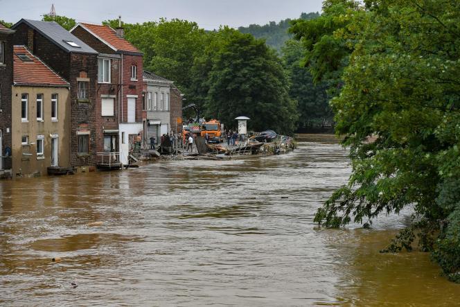 Le quartier Chênée sous les eaux, à Liège (Belgique), le 16 juillet 2021.