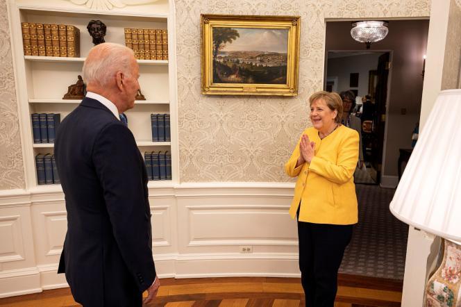 Le président américain Joe Biden accueille la chancelière allemande Angela Merkel à la Maison Blanche à Washington, le 15 juillet 2021.