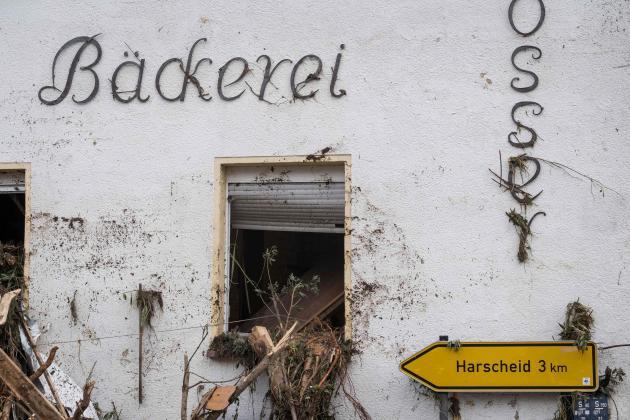 Une boulangerie détruite par les inondations àSchuld, en Rhénanie-Palatinat(Allemagne), le 15 juillet.