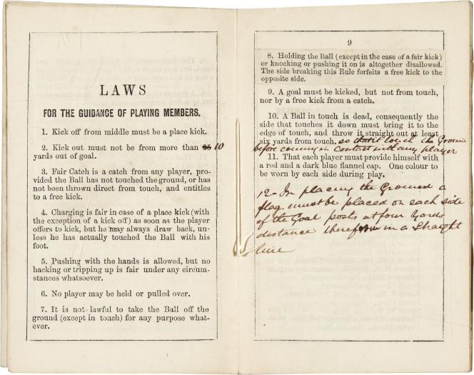 Les premières règles du football telles qu'édictées par leclub de Sheffield, en 1858.