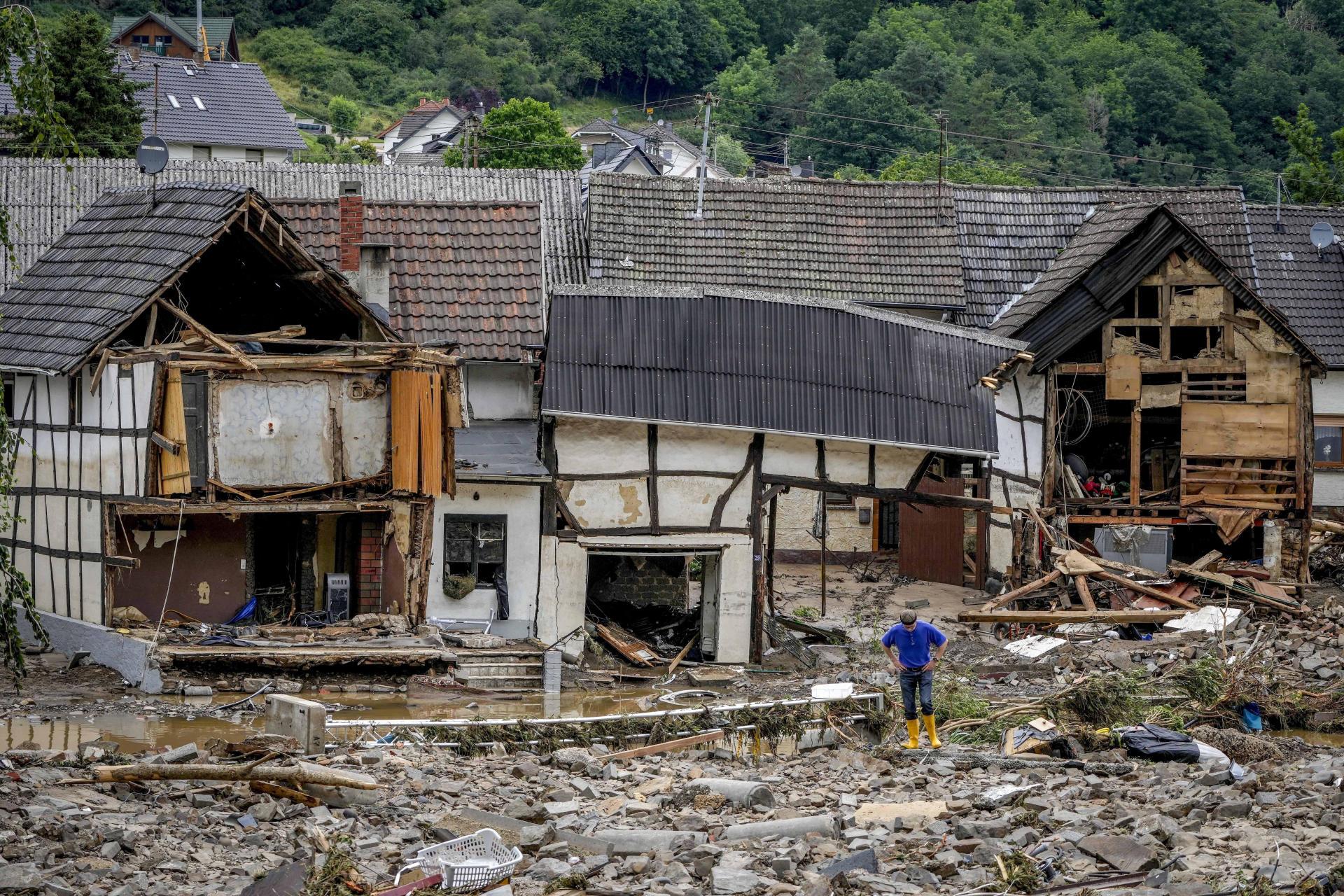 Des maisons du village de Schuld, en Allemagne, détruites par les inondations, le 15 juillet 2021.